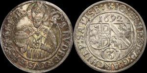 Зальцбург Епископство Иоганн Эрнст фон Тун и Гогенштейн - грошен (3 крейцера) 1692 (Unc-).jpg