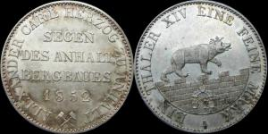 Ангальт - талер 1852Александр Карл Ангальт-Бернбургский.jpg