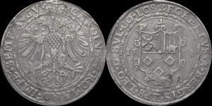 Бельгия - Епископство Льеж - Роберт II ван Бергис (Роберт де Берг) (1557-1564) - талер 1558 (Dav. 8413).jpg