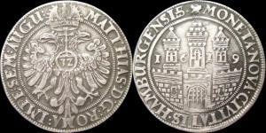 Германия - HAMBURG (город) - талер (32 шиллинга) 1619, Матиасс.jpg